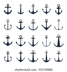 Anchor icons. Vector boat anchors isolated on white background for marine tattoo or logo. Set of black silhouette anchos illustration