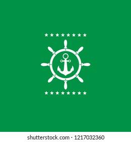 anchor inside the rudder emblem, label, badge. vintage stamp.package label. vector illustration.Anchor and wheel  icon