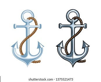Anchor isolated on white background. Vector illustration for tattoo, web and label.