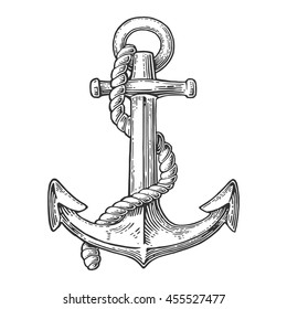 Anchor isolated on white background. Vector vintage engraving illustration for tattoo, web and label. Hand drawn in a graphic style.