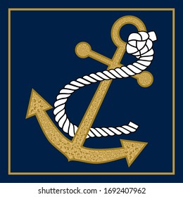 Anchor. Isolated vector illustration on blue background. Vector drawing related to maritime.