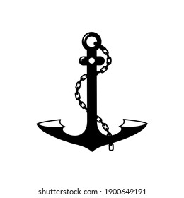 The anchor is large, metal with a chain. Black on white. Vector, isolated.