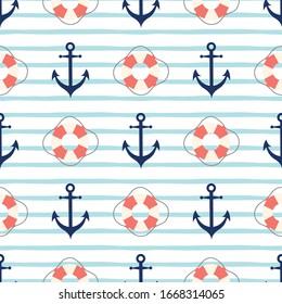Anchor, lifebuoy seamless sea pattern Cute cartoon sailing marine background Blue stripped print vector