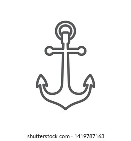 Anchor line icon. Minimalist icon isolated on white background. Anchor simple silhouette. Web site page and mobile app design vector element.