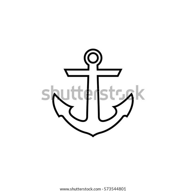 Anchor Line Icon Travel Navigation Website Stock Vector
