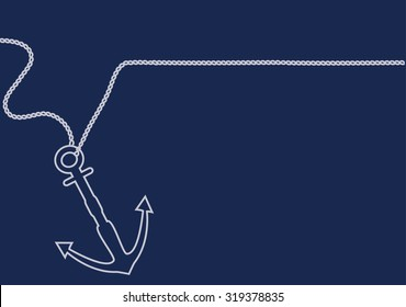 Anchor line vector. Nautical design with copy space.