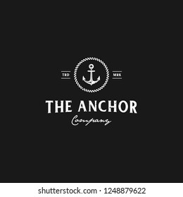 The Anchor Logo Company Vintage Circle Rope badge designs in black and white colors
