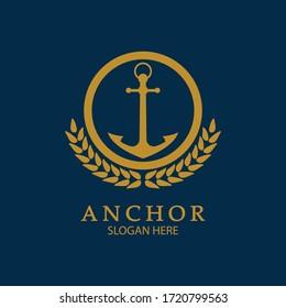 Anchor Logo Design Vector. Symbol of maritime icon or ocean business