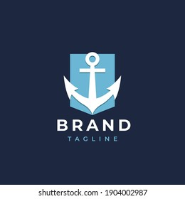 Anchor logo icon design template. Business symbol or sign. Line anchor shield luxury logotype. Vector illustration.