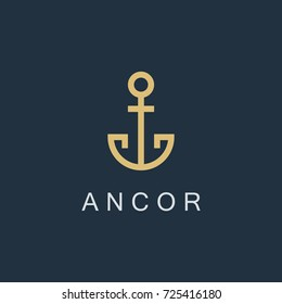 anchor logo icon design template. linear business symbol or sign. line luxury logotype. isolated on blue background. vector illustration