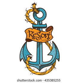 Anchor logo, sketch of tattoo. Color illustration on the theme of the sea.