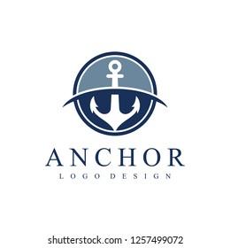 Anchor Logo. Vector illustration isolated anchor in a circle.