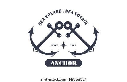 Anchor, nautical symbol, vintage Retro logo design for boat ship nautical transport