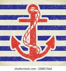 Anchor on grunge background vintage vector illustration 2