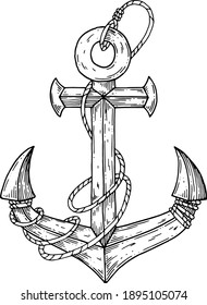 The anchor is painted with paint and wrapped in rope.
