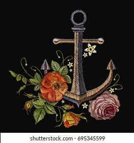 Anchor red roses and peonies embroidery. Classical fashionable embroidery vintage anchor, beautiful red bouquets of roses and peonies template for clothes, textile t-shirt design fashion template