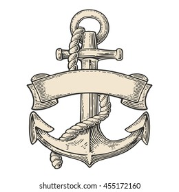 Anchor with ribbon and rope isolated on white background. Vector vintage engraving illustration for tattoo, web and label. Hand drawn in a graphic style.