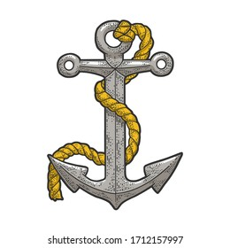 Anchor and rope color sketch engraving vector illustration. T-shirt apparel print design. Scratch board imitation. Black and white hand drawn image.