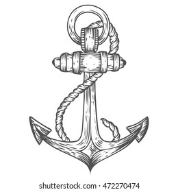 Anchor with rope engraving hand drawn sketch vector nautical illustration. Retro vintage marine equipment. Metal anchor label. Anchor symbol on white background