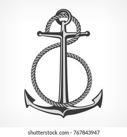 Anchor with rope, nautical symbols on white, vector marine illustration
