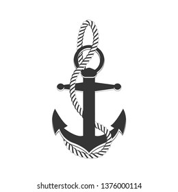 Anchor with rope. Anchor and rope. Sailing, boat, ship, cruise. Vector illustration.
