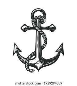Anchor with rope symbol. Nautical concept sketch vector illustration