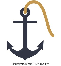 Anchor with rope vector. Navy ship stop equipment isolated on white background. Nautical symbol illustration