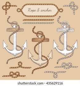 Anchor and ropes, set of vintage nautical elements for  design on beige background