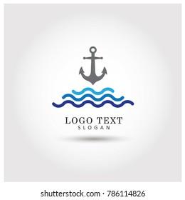 Anchor Sea Logo. Symbol & Icon Vector Template.