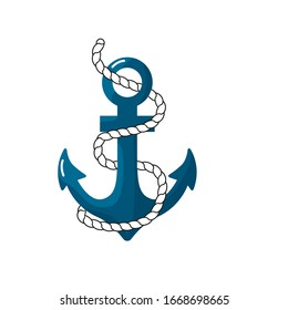Anchor with sea rope, in flat style. Vector image isolated on a white background.