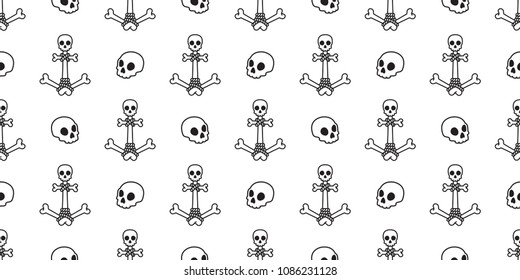 Anchor Seamless Pattern pirate skull helm boat bone vector chain Nautical maritime isolated Halloween background wallpaper