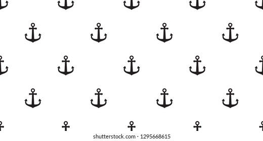 Anchor seamless pattern vector boat isolated pirate helm scarf Nautical maritime ocean sea repeat wallpaper tile background illustration