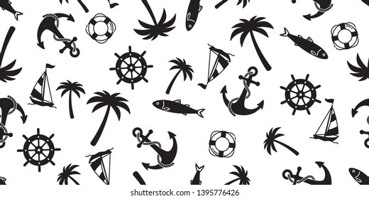 Anchor seamless pattern vector boat palm tree pirate helm maritime Nautical ocean sea tropical summer repeat wallpaper tile background scarf isolated
