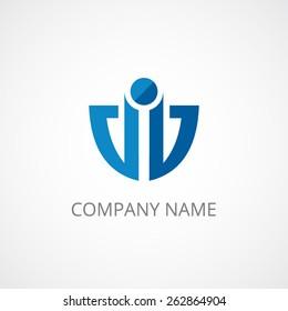anchor, shield abstract businees logo, modern