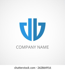 anchor, shield abstract businees logo, modern. db letters