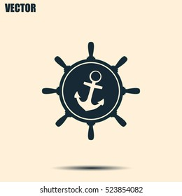 Anchor and ship steering wheel icon - vector illustration