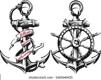 Anchor and ship wheel  vector illustration