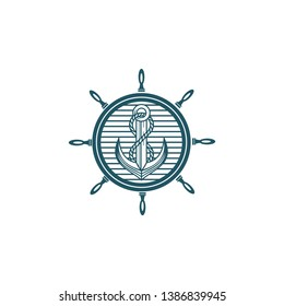 Anchor with Ship Whell Logo Design Inspiration. Vintage Concept.
