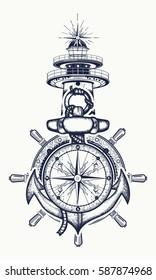 8e6c50b58d975 Anchor, steering wheel, compass, lighthouse, tattoo art. Symbol of maritime  adventure