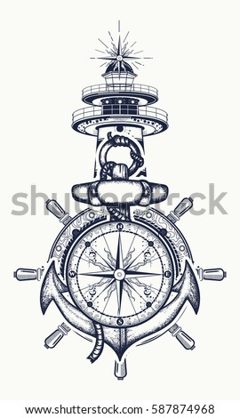 Anchor Steering Wheel Compass Lighthouse Tattoo Stock Vector