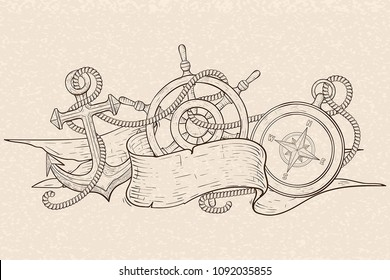 Anchor, steering wheel and compass, tangled with rope and ribbon banner. Hand drawn sketch on beige background. Vector illustration