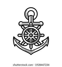 Anchor with a steering wheel. Icon isolated on white background. Sea travel and nautical themes. Vector design element. - Vector