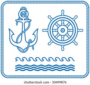 Anchor and Steering Wheel. Nautical designs