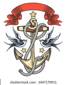 Anchor with swallows and ribbon. Tattoo design. Vector illustration.