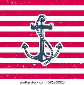 Anchor Symbol with Grunge Background
