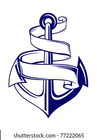 Anchor symbol with ribbon or banner for travel design. Jpeg version also available