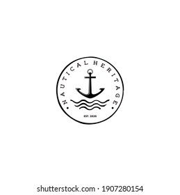 Anchor Symbol with Sea Waves Stamp Badge Logo Vector Illustration