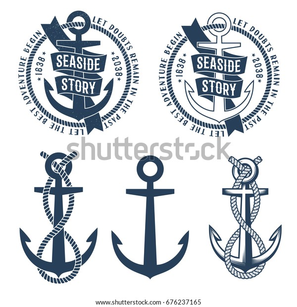 75f786ccd Anchor tattoo logos with ribbon, rope and seaside story words on it. Retro  nautical