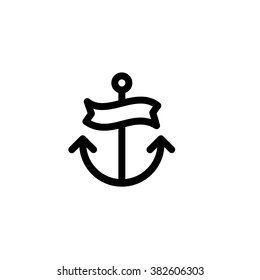 Anchor tattoo minimal vector icon