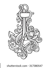 Anchor tattoo with shells and stylized waves in the form of curls